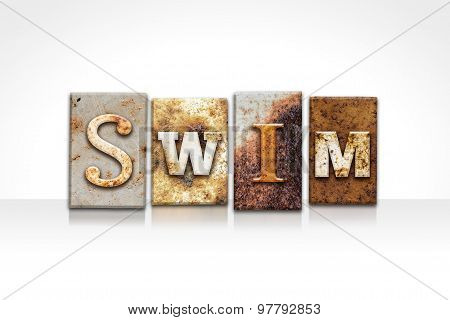 Swim Letterpress Concept Isolated On White