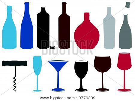 Vector set of liquor bottles, glasses and corkscrew.