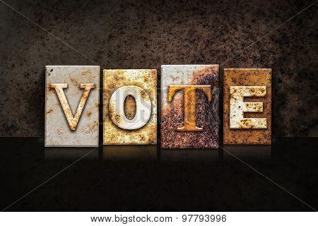 Vote Letterpress Concept On Dark Background