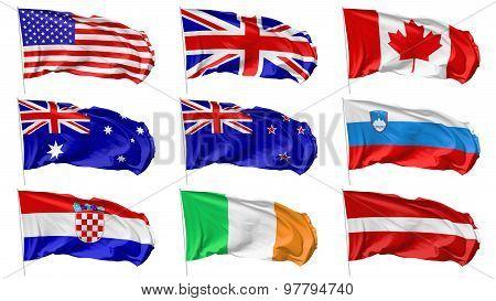 Flags On Flagpole Set