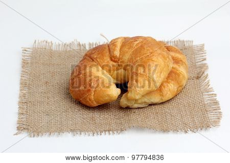Croissant On Spuare Frayed Burlap