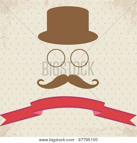 Hipster Illustration on Dot Vintage Background