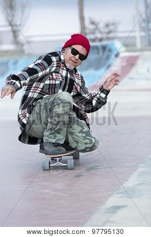 Old Man Skater Enjoying Skating