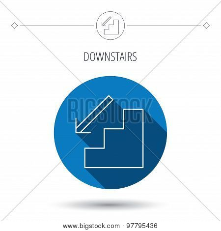 Downstairs icon. Direction arrow sign.