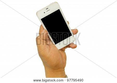 Hand Holding Smartphone With Blank Screen Isolated On White.