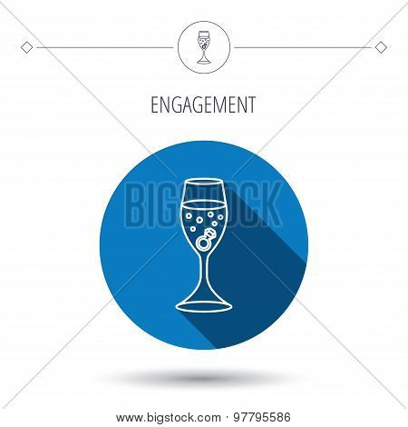 Glass with ring icon. Engagement symbol.