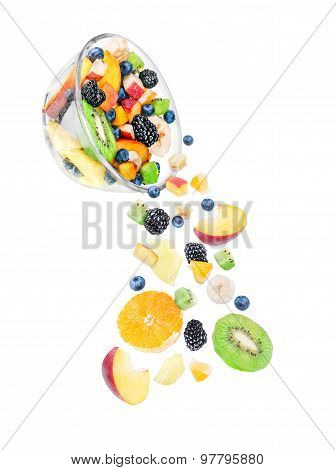 Flying Ingredients For Fruit Salad With Fruits Like Apples, Oranges, Kiwi, Peach, Banana And Strawbe