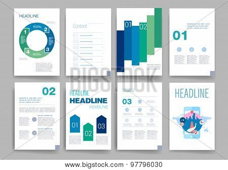 Brochure design template set. Templates. Design Set of Web, Mail, Brochures. Modern flat and line ic
