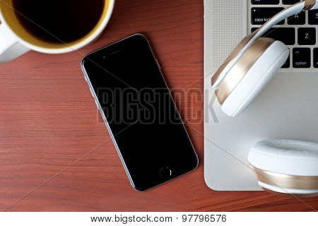Coffee Work Table With Mobile Devices Top View