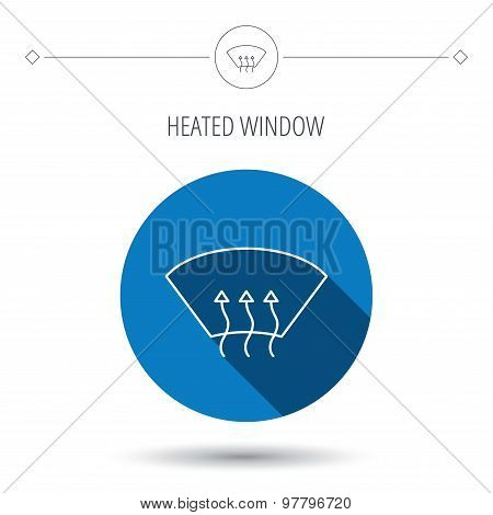 Heated window icon. Windshield arrows sign.