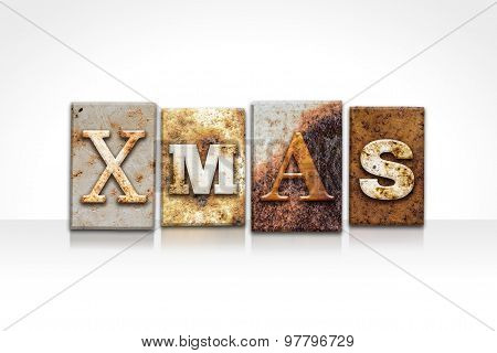 Xmas Letterpress Concept Isolated On White