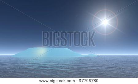 Sun upon iceberg - 3D render