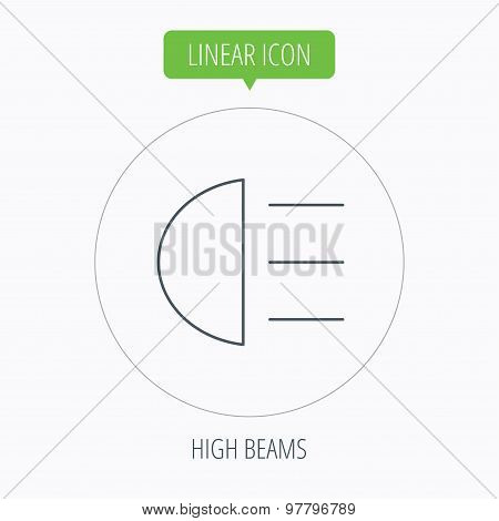 High beams icon. Distant light car sign.