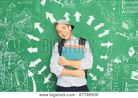 Student with a backpack