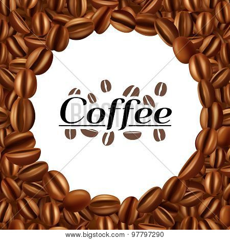 Coffee beans round frame background print