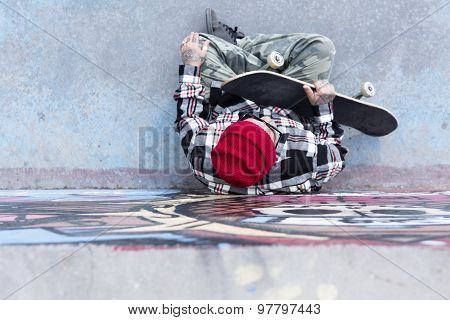Top View Of An Old Man Skater