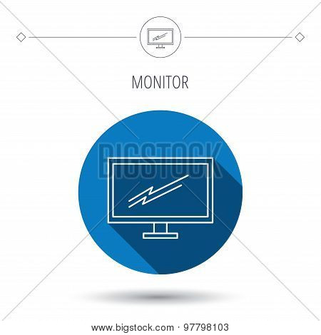 PC monitor icon. Led TV sign.