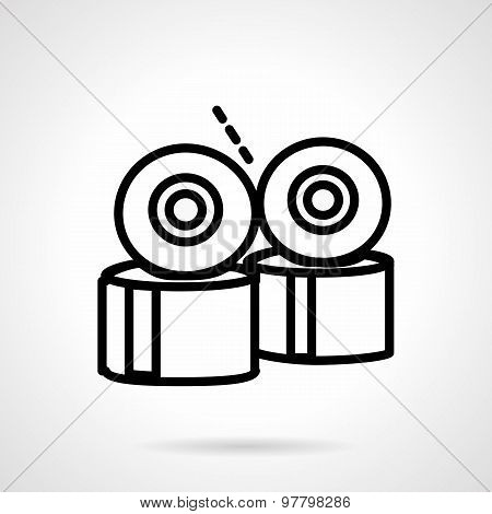 Longboard wheels line vector icon