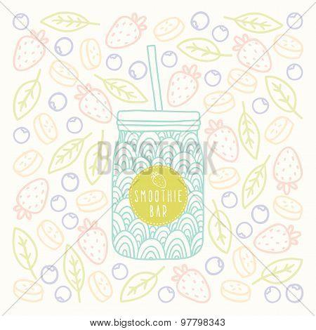 Mason jar with smoothie bar logotype on fruits and berrys background.