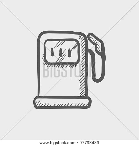 Gasoline pump sketch icon for web and mobile. Hand drawn vector dark grey icon on light grey background.