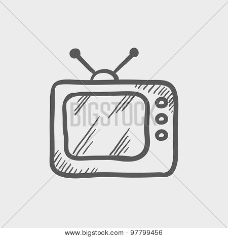 Retro television sketch icon for web and mobile. Hand drawn vector dark grey icon on light grey background.