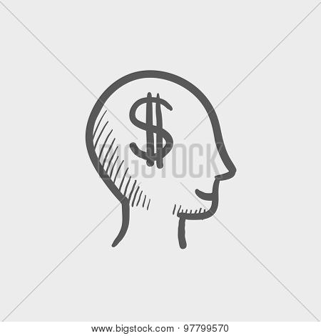 Head with dollar symbol sketch icon for web and mobile. Hand drawn vector dark grey icon on light grey background.