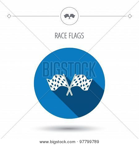 Crosswise racing flags icon. Finishing symbol.