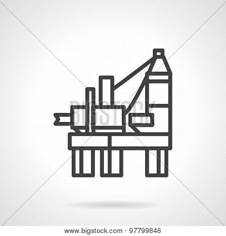 Oil derrick platform line vector icon