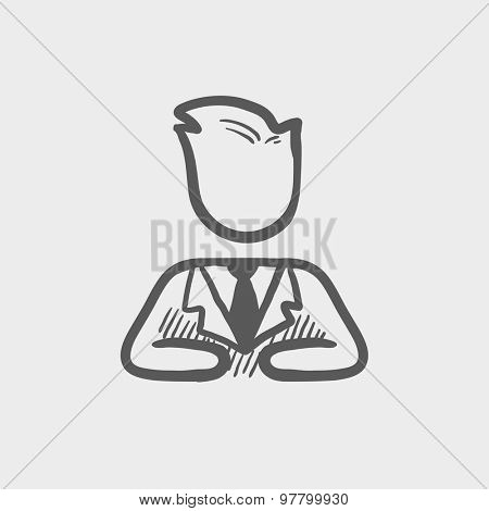 Businessman relaxing sketch icon for web and mobile. Hand drawn vector dark grey icon on light grey background.