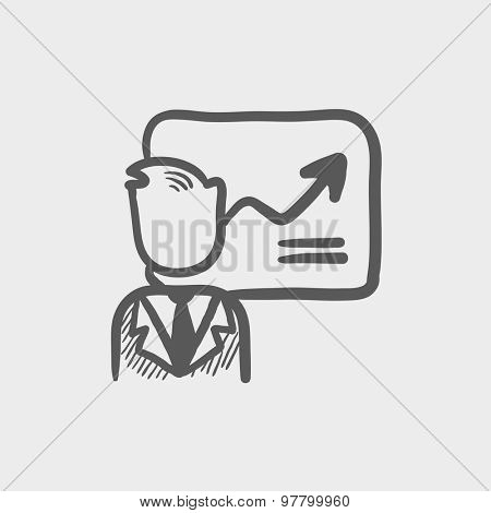 Infographic sketch icon for web and mobile. Hand drawn vector dark grey icon on light grey background.