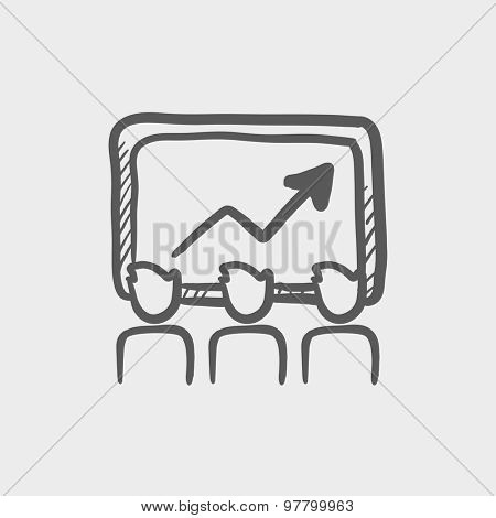 Businees growth sketch icon for web and mobile. Hand drawn vector dark grey icon on light grey background.