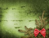 stock photo of christmas-eve  - Festive invitation or greeting with firtree and bow - JPG