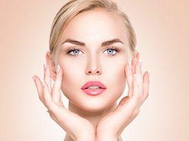 stock photo of touching  - Beauty Woman Portrait - JPG