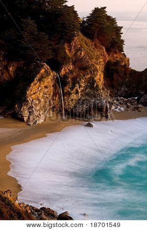 McWay Falls at Big Sur at sunset, California