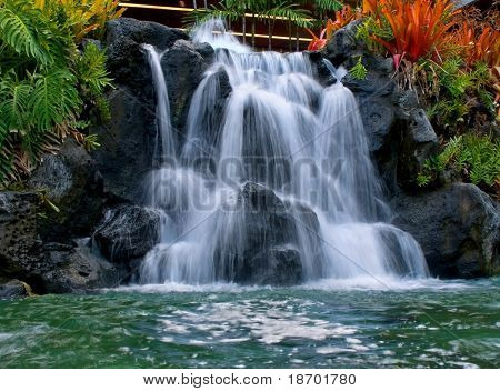 Man-made waterfall in Waikiki Hawaii