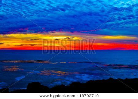Sunset over Pacific Ocean in California