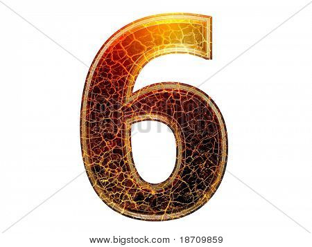 3d number with crackled texture