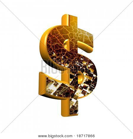 Abstract 3d currency sign  with grunge texture - dollar currency sign