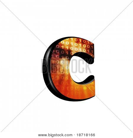 Abstract 3d letter with futuristic texture - C