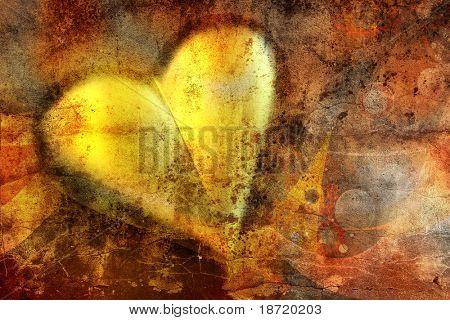 golden Valentine heart on grunge background