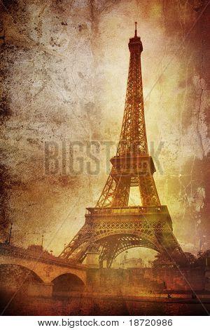 eiffel tower on grunge background