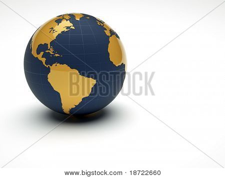 3d earth on white background