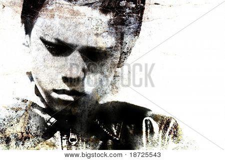 grungy portrait of a child