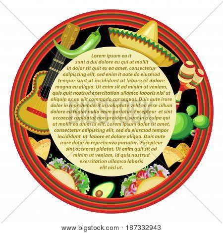Vector image for a holiday of Cinco de Mayo. Round sticker with a striped frame and a central plate for text. Attributes Cinco de Mayo: guitar sombrero maracas tacos on a black background.