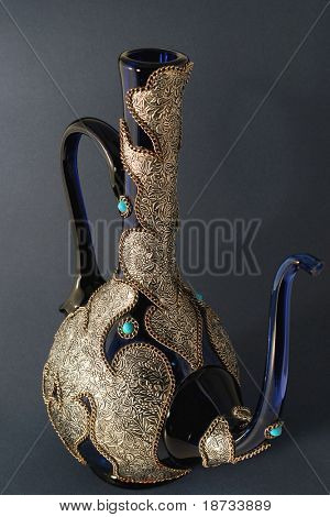 Ewer - Oriental embroidied pot