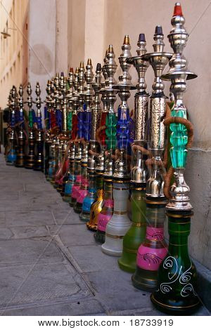 Hookahs (water pipes) in souk wakif in Doha Qatar
