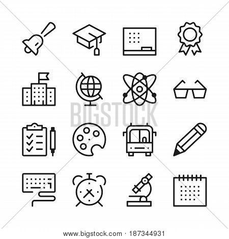 poster of School and Education line icons set. Modern graphic design concepts, simple outline elements collection. Vector line icons