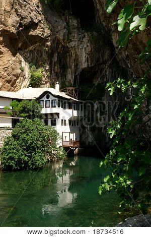 Dervish house in Blagaj Buna in Bosnia and Herzegovina