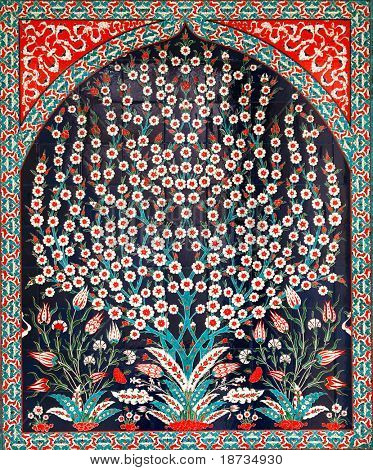Turkish artistic wall tile - tree design