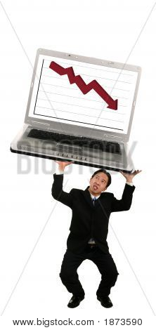 Holding Up Laptop With Stock Chart 2